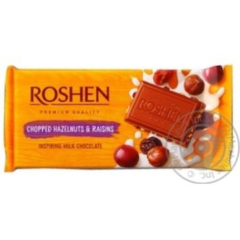 Шоколад Roshen Classic молочный с измельченными лесными орехами и изюмом 90г - купить, цены на Novus - фото 1