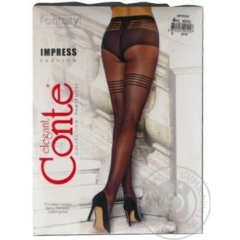Колготки жіночі Conte Elegant Fantasy Impress 20 den розмір 4, nero - купити, ціни на Novus - фото 1