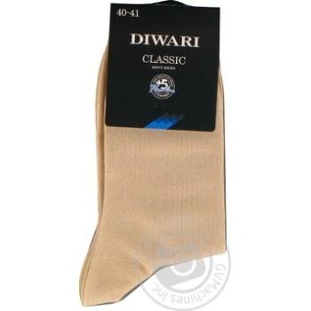 Шкарпетки чоловічі DiWaRi Classic 000 бежевий Р25 пар - купити, ціни на Novus - фото 1