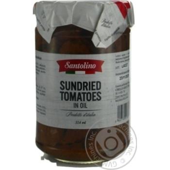 Томати в'ялені в соняшниковій олії пастеризовані Santolino с/б 314мл