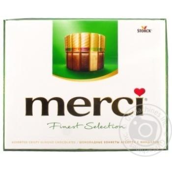 Набор шоколадных конфет Merci Finest Selection ассорти  с миндалем 250г - купить, цены на Novus - фото 1