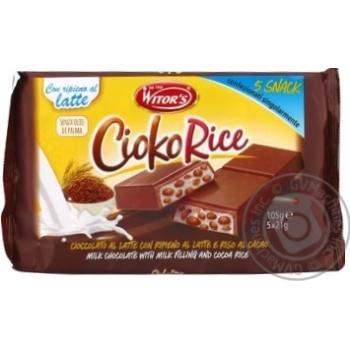Шоколад молочный Witor's Cioko Rice с молочной начинкой и воздушным рисом с какао 5*21г