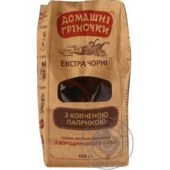 Грінки бородинські з копченою папрікою Домашні гріночки 100г