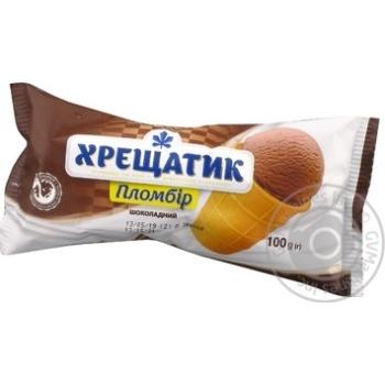 Мороженое Хрещатик пломбир шоколадный в вафельном стаканчике 100г