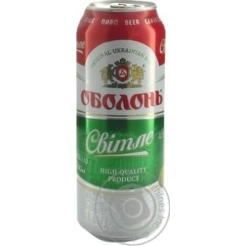 Пиво Оболонь Светлое пастеризованное 4.5%об. 500мл