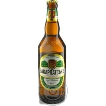 Beer Persha pryvatna brovarnya Zakarpatskyy light 4% 500ml glass bottle