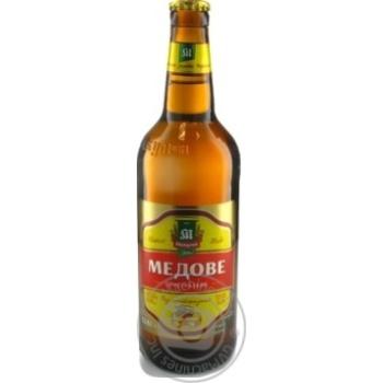 Пиво Микулинецкое Медовое Оригинальное живое светлое непастеризованное 500мл