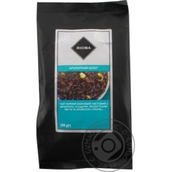 Скидка на Чай Rioba Ароматный Букет черный байховый листовой с фруктами, плодами, лепестками и ароматом Тропик 250г