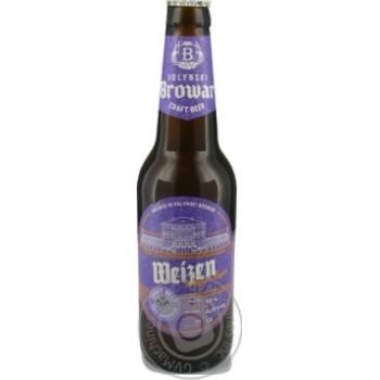 Скидка на Пиво Volynski Brovar Weizen пшеничное светлое нефильтпрованное 4.9% 0,35л