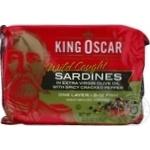 Сардини Кінг Оскар 106г в оливковій олії з перцем з/б ключ