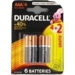 Батарейки DURACELL Basic AАA алкаліновi 1.5V LR6 4+2шт