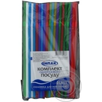 Соломка Инпак для напитков Party 40шт - купить, цены на Novus - фото 1