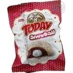 Пирожное Elvan Today Snowball бисквитное с молочной начинкой в глазури с кокосом 50г