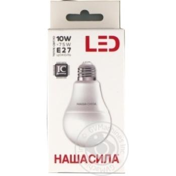 Лампа світлодіодна лс Наша сила LED A60 E27 10W 3000K - купить, цены на Novus - фото 1