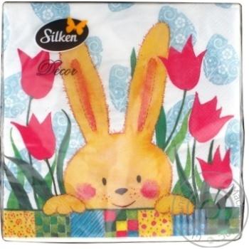 Салфетки бумажные трехслойные Silken Пасхальные 33х33см 18шт. в ассортименте - купить, цены на МегаМаркет - фото 2
