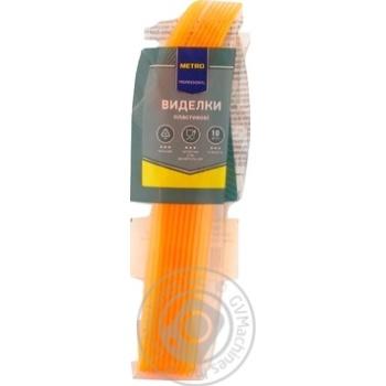Вилки пластиковые Metro Professional прозрачные желтые 10шт. - купить, цены на Метро - фото 2