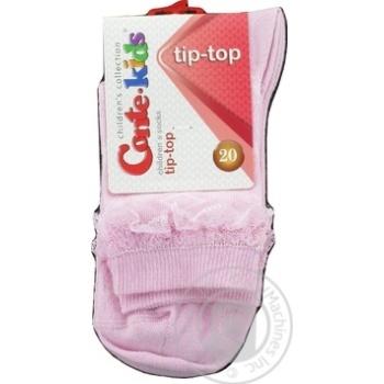 Носки Conte-kids Tip-Top детские светло-розовые с кружевной лентой 20р