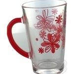 Чашка стеклянная Glasmark с красной ручкой 300мл