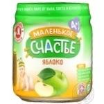 Puree Malenkoye schastye apple for children 90g