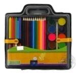 Набір для малювання ZiBi фарби, кольорові карандаші крейда воскова, пензель натуральний, чинка