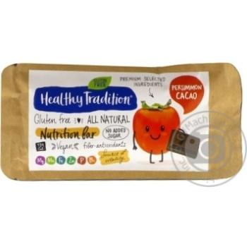 Батончик Healthy Tradition Хурма-Какао питательный без сахара и глютена 34г - купить, цены на МегаМаркет - фото 1