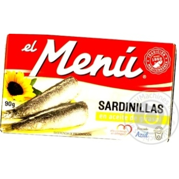 Сардины el menu в подсолнечном масле 90г