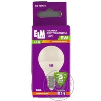 Лампочка ELM LED 6W 470lm 300K E14 G45 PA10
