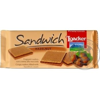 Вафли Loacker Sandwich Hazelnut с ореховой начинкой 75г