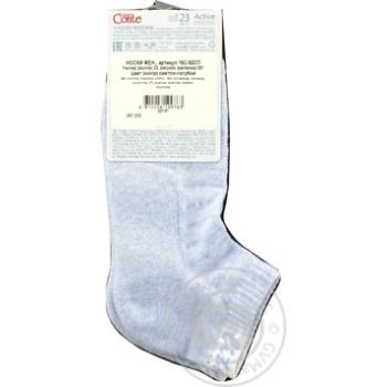Шкарпетки жіночі бавовняні Conte Elegant Active короткі махрова стопа 16С-92СП розмір 23,091 світло-блакитний - купить, цены на Novus - фото 3