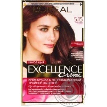 Hair dye cream L`Oreal Paris Excell Crem 5.15 Fros chest