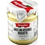 Vegetables artichoke Santolino Bruschetta with garlic pasteurized 212ml glass jar