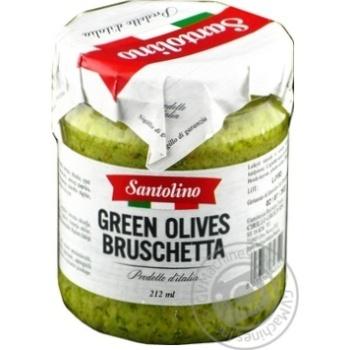 Брускета з зелених оливок консервована пастеризована Santolino 212мл