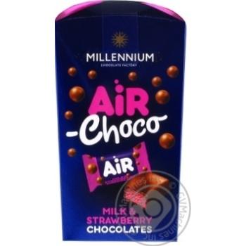 Скидка на Конфеты Millennium Air Milk & Strawberry шоколадные с начинкой 100г