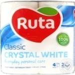 Toilet paper Ruta Classic white 2-ply 4pcs