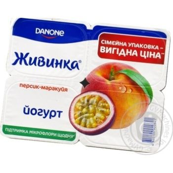 Йогурт Живинка персик-маракуйя 1.5% пластиковый стакан 4х115г