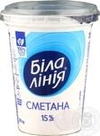Сметана Белая линия 15% пластиковый стакан 350г Украина