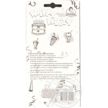 Свічки для торту Помічниця 20 двокольор свічок + 10 підставок - купить, цены на Novus - фото 2