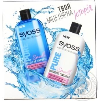 Набор Syoss Pure шампунь мицеллярный 500мл+кондиционер500мл шт - купить, цены на Novus - фото 1