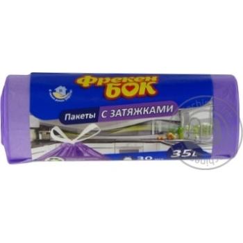 Пакеты для мусора Фрекен БОК цветные с затяжками 35л*30шт - купить, цены на Фуршет - фото 1