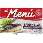 Сардины El Menu пикантные в подсолнечном масле 90г