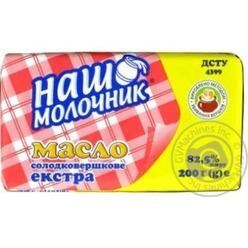 Масло Наш Молочник Экстра сладкосливочное 82% 200г - купить, цены на Метро - фото 2