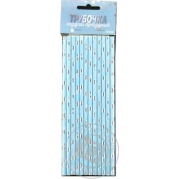 Трубочка для коктейлю Горошок срібло Весёлая Затея 1502-3089 12шт - купить, цены на Novus - фото 1
