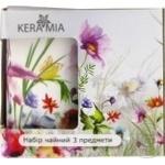Чашка Keramia Полевые цветы с ложкой и подставкой 330мл