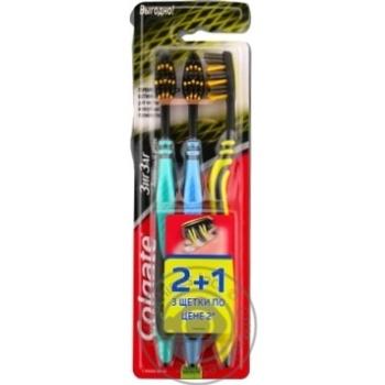 Зубна щітка Colgate Зиг Заг Деревне вугілля середньої жорсткості 2+1шт - купити, ціни на Восторг - фото 2