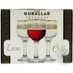 Набір бокалів для червоного вина 210мл декорованих під золот