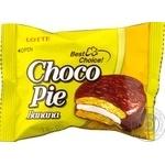 Пирожное бисквитное Lotte Choco Pie Банан прослоенное глазированное 28г - купить, цены на МегаМаркет - фото 1